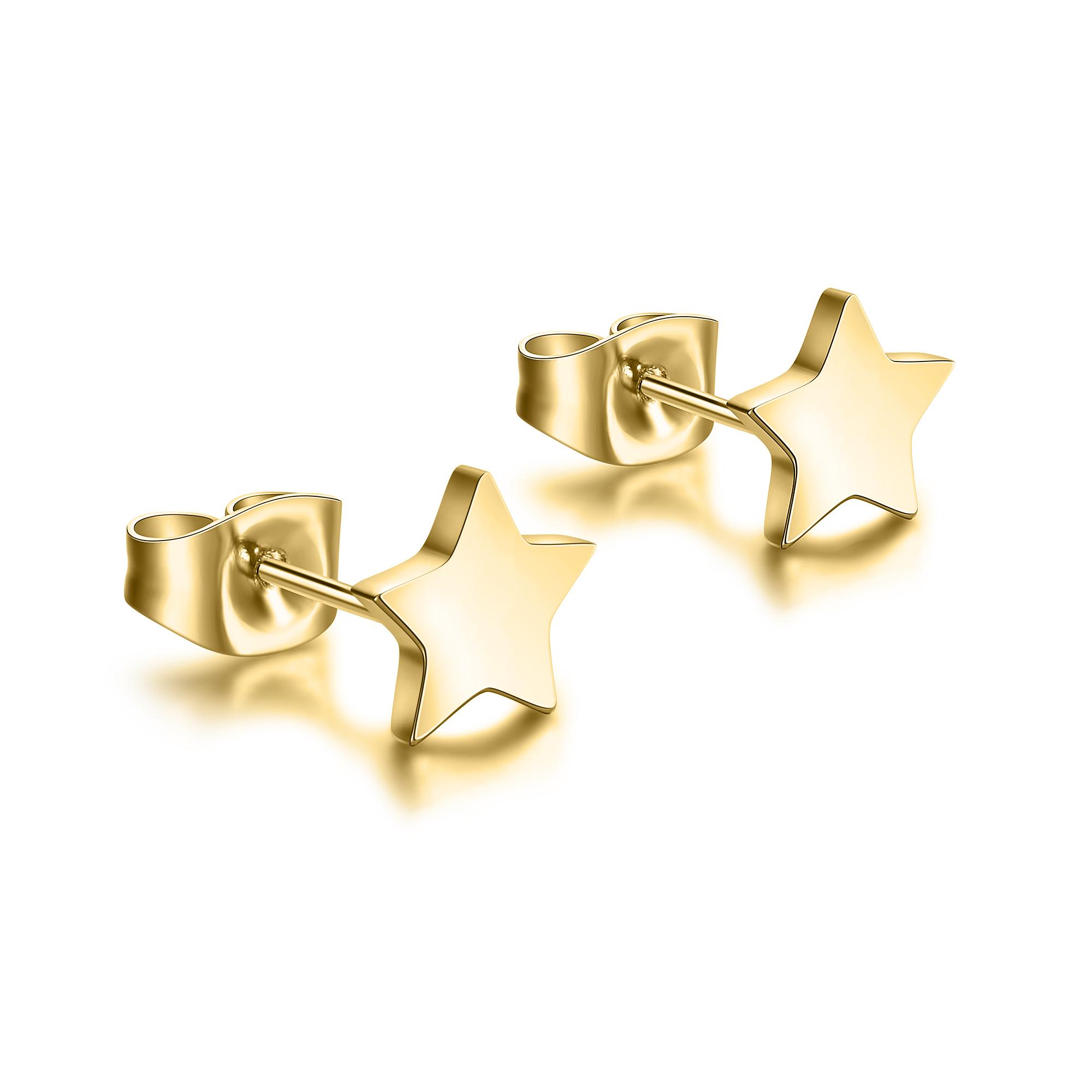 Language In 45 And 47 Stella Street: Orecchini Stella Acciaio Gold #BrandGioielli