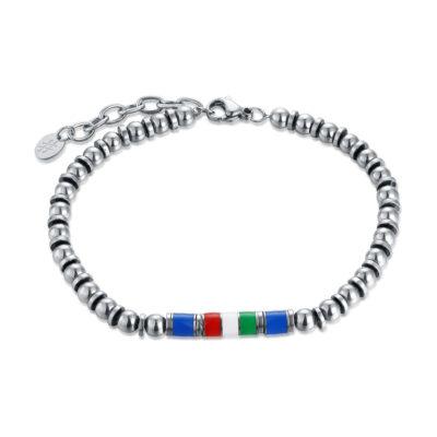 brandgioielli_brand_gioielli_acciaio_bracciale_smalto_tricolore_azzurro